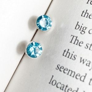 BLUE CRYSTAL DAINTY SOLITAIRE STUDS